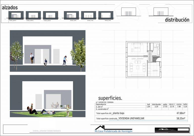 Plano modelo Huesca 1 habitacion